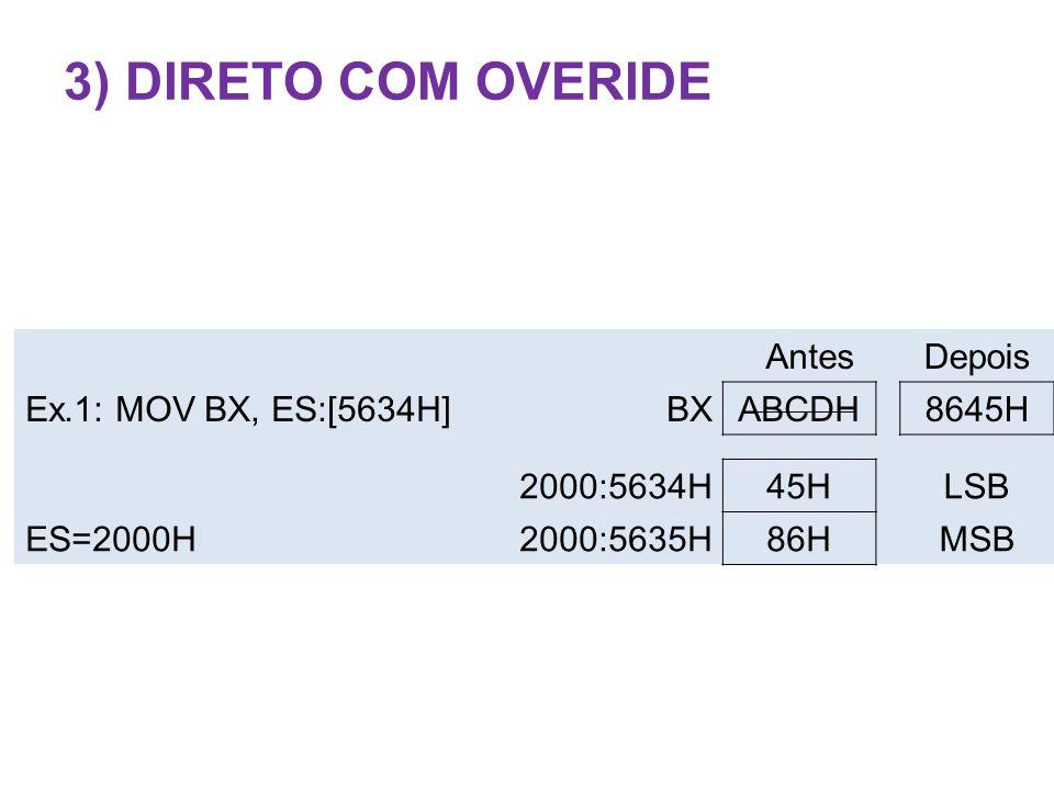 3) Direto Com OveRide Antes Depois Ex.1: MOV BX, ES:[5634H] BX ABCDH